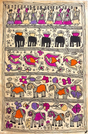 Get Together by Yamuna Devi, Folk Painting, Water Based Medium on Paper, Beige color