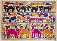 Deer Friends by Yamuna Devi, Folk Painting, Water Based Medium on Paper, Brown color