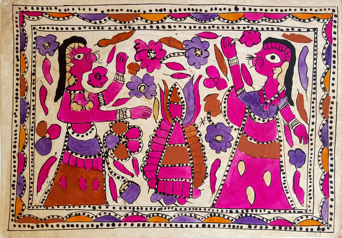 Falling Flowers by Yamuna Devi, Folk Painting, Water Based Medium on Paper, Brown color