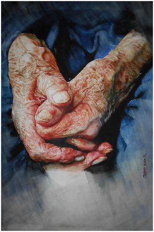 Loving hands by Uday Bhan, Realism Painting, Watercolor on Paper, Brown color