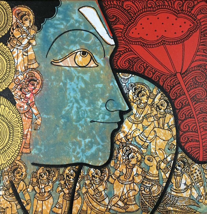 Untitled by Ramesh Gorjala, Decorative Painting, Acrylic & Ink on Canvas, Brown color