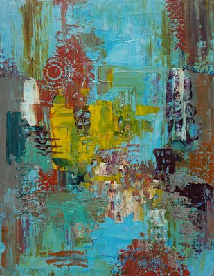 Arrival by Sheetal Singh, Abstract Painting, Acrylic on Canvas, Green color