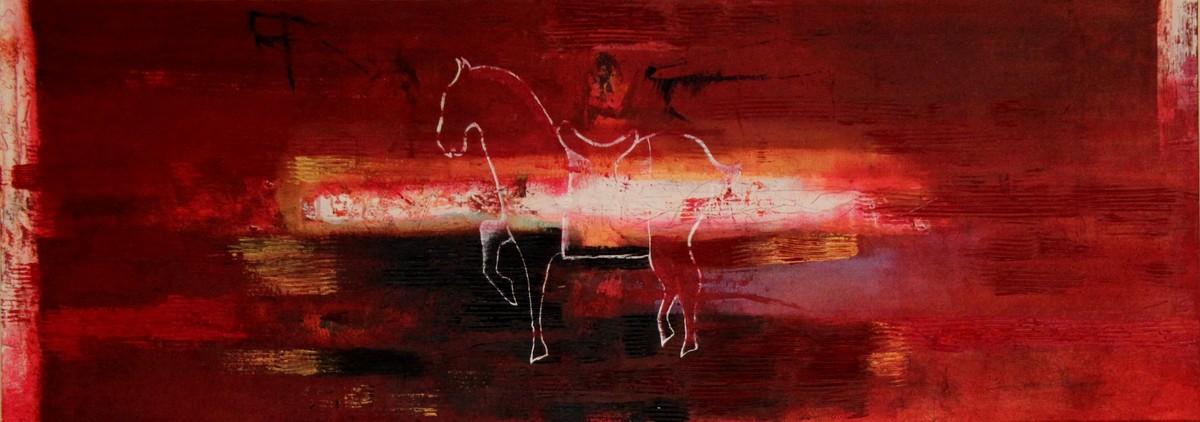 Across Faiths - Crusades by Pratap SJB Rana, Fantasy Painting, Acrylic on Canvas, Brown color