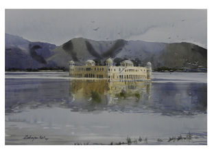 Jal Mahal by Debanjan Sil, Impressionism Painting, Watercolor on Paper, Gray color