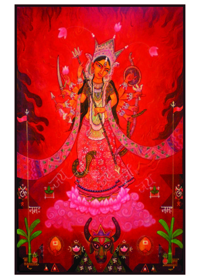 Devi Durga by Atin Mitra, Decorative Painting, Mixed Media on Canvas, Red color