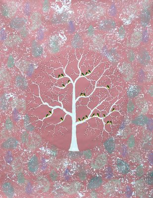 Gulvan Vriksh by Sumit Mehndiratta, Decorative Painting, Acrylic on Canvas, Pink color
