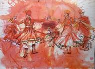 Rajasthani Folk dancers by Sreenivasa Ram Makineedi, Expressionism Painting, Watercolor on Paper, Brown color