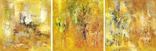Untitled by Goutam Mukherjee, Abstract Painting, Oil & Acrylic on Canvas, Orange color