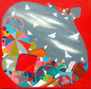 The treasure of childhood ii by shiv kumar soni, Conceptual Painting, Acrylic on Canvas, Red color