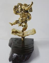 Happy Dancing Ganesha by Usha Ramachandran, Expressionism Sculpture | 3D, Bronze, Gray color
