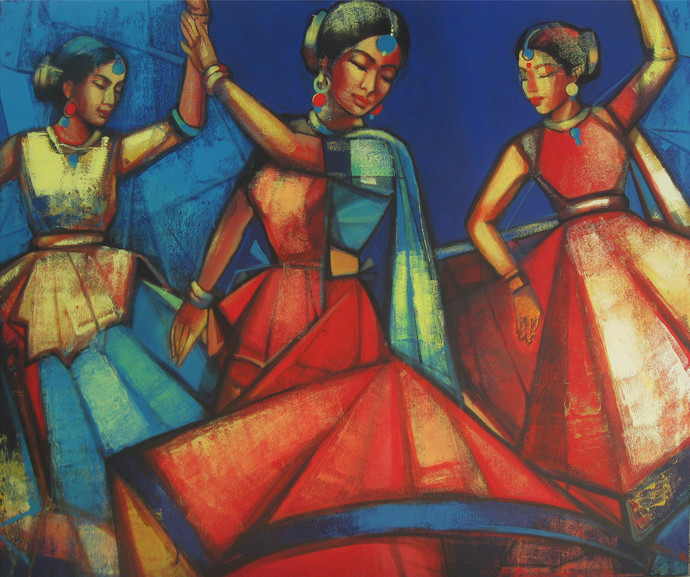 Rhythmscape series 2 by Anindya Mukherjee, Decorative Painting, Acrylic on Canvas, Brown color