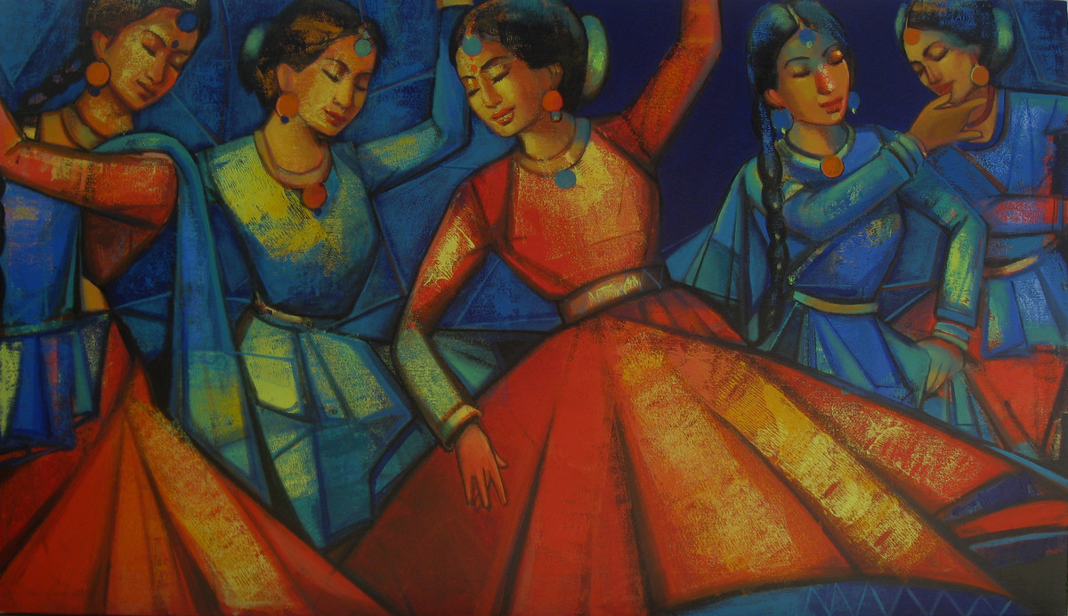 Rhythmscape series 3 by Anindya Mukherjee, Decorative Painting, Acrylic on Canvas, Brown color