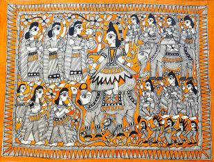 Shiva's Baraat by Heera Devi, Folk Painting, Water Based Medium on Paper, Brown color