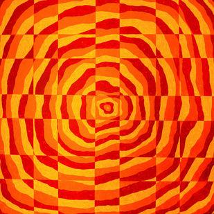 Impulse I by Srushti Rao, Op Art Painting, Acrylic on Canvas, Orange color