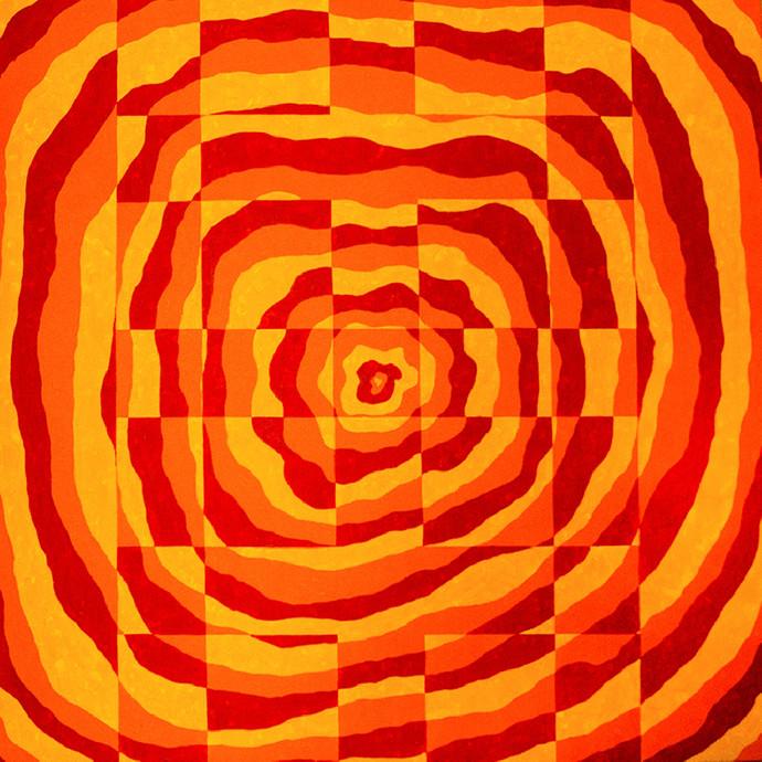 Impulse II by Srushti Rao, Op Art Painting, Acrylic on Canvas, Orange color