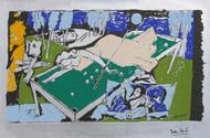 Yeh kaun sa modh hai umar ka - V by M F Husain, Expressionism Serigraph, Serigraph on Paper, Green color