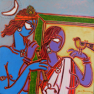 In a frame 2 by Santanu Nandan Dinda, Traditional Painting, Acrylic on Canvas, Brown color