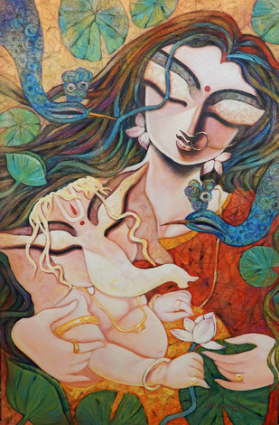 GIFT OF LOVE by Subrata Ghosh, Traditional Painting, Acrylic on Canvas, Brown color