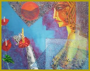 Worship by Debajyoti Sarkar, Fantasy Painting, Acrylic on Canvas, Brown color