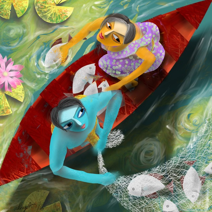 Jolei phire ja (Go back to water dear fish!!) by Adhijit Bhakta, Digital Digital Art, Digital Print on Canvas, Green color