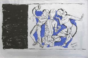 Yeh kaun sa modh hai umar ka - VI by M F Husain, Expressionism Printmaking, Serigraph on Paper, Gray color
