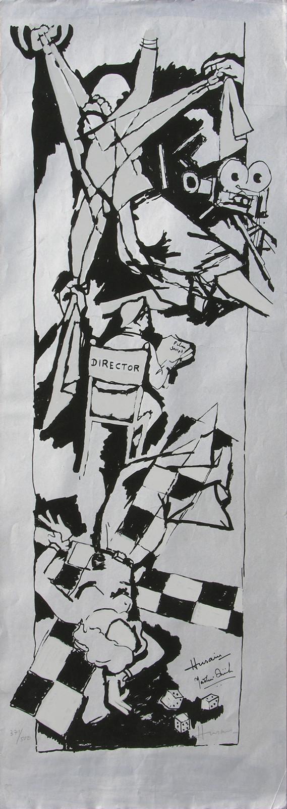 Yeh kaun sa modh hai umar ka - X by M F Husain, Expressionism Printmaking, Serigraph on Paper, Gray color