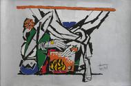 Yeh kaun sa modh hai umar ka - XI by M F Husain, Expressionism Printmaking, Serigraph on Paper, Gray color