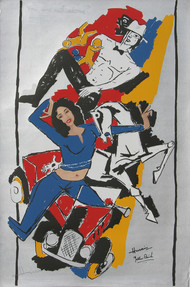 Yeh kaun sa modh hai umar ka - XIII by M F Husain, Expressionism Printmaking, Serigraph on Paper, Gray color