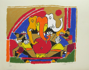 Ganesh by M F Husain, Expressionism Serigraph, Serigraph on Paper, Beige color