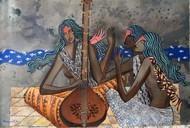 Raag Malhar by Debajyoti Sarkar, Decorative Painting, Acrylic on Canvas, Brown color