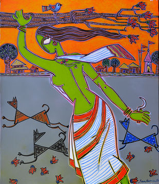 A village Lady Digital Print by Santanu Nandan Dinda,Traditional