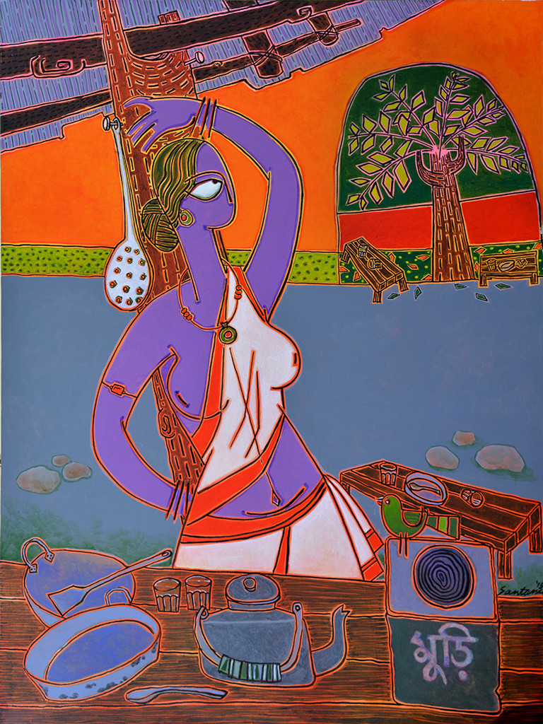 At the tea-stall by Santanu Nandan Dinda, Traditional Painting, Acrylic on Canvas, Brown color