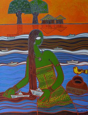 Boats by Santanu Nandan Dinda, Traditional Painting, Acrylic on Canvas, Brown color