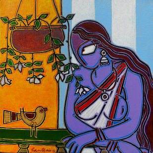 Lady with a bird by Santanu Nandan Dinda, Traditional Painting, Acrylic on Canvas, Brown color