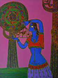 Let her free by Santanu Nandan Dinda, Traditional Painting, Acrylic on Canvas, Purple color