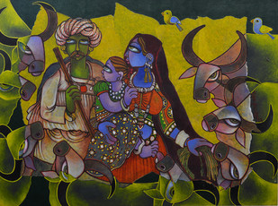 A Gujrati family by Sunita Dinda, Traditional Painting, Acrylic on Canvas, Green color