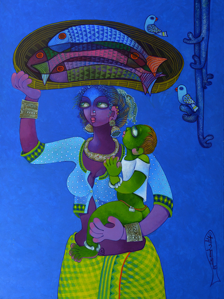 Fish seller Digital Print by Sunita Dinda,Traditional
