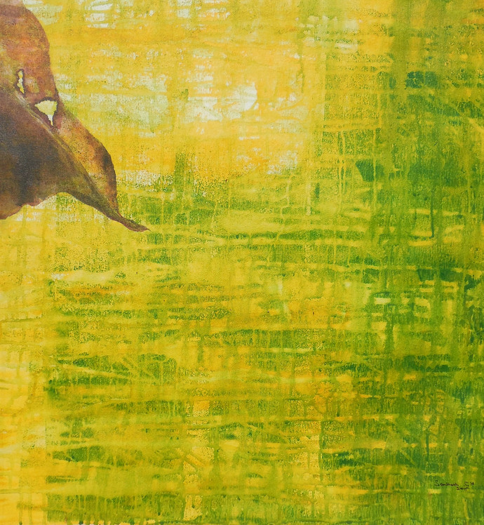 Abstract 45 by Santhosh CH, Abstract Painting, Acrylic on Canvas, Green color