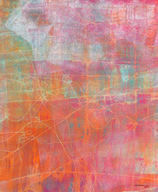 abstract 25 by Santhosh CH, Abstract Painting, Acrylic on Canvas, Pink color