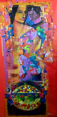 Red Frame by Madan Lal, Fantasy Painting, Acrylic on Canvas, Brown color