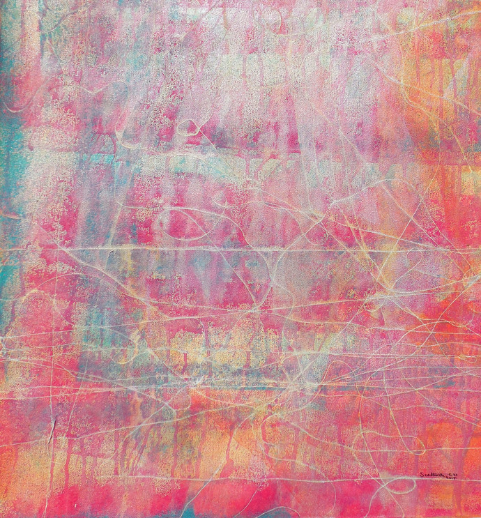 Abstract 23 by Santhosh CH, Abstract Painting, Acrylic on Canvas, Pink color