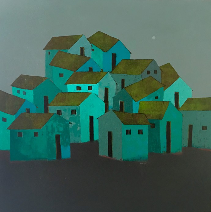 Village (Green) by Nagesh Ghodke, Decorative Painting, Acrylic on Canvas, Green color