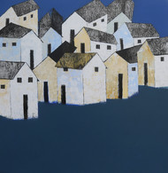 Village (White) by Nagesh Ghodke, Decorative Painting, Acrylic on Canvas, Blue color