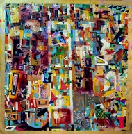 urban phulkari by Madan Lal, Geometrical Painting, Acrylic on Canvas, Brown color