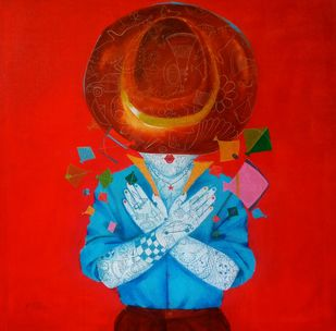 The childhood V by shiv kumar soni, Expressionism Painting, Acrylic on Canvas, Red color