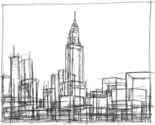 Wire Frame Cityscape II Digital Print by Harper, Ethan,Illustration