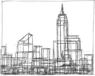 Wire Frame Cityscape I Digital Print by Harper, Ethan,Illustration