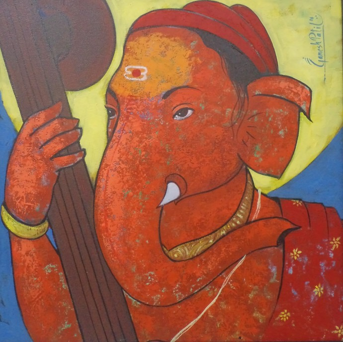 Ganapati 04 by Ganesh Patil, Decorative Painting, Acrylic on Canvas, Brown color