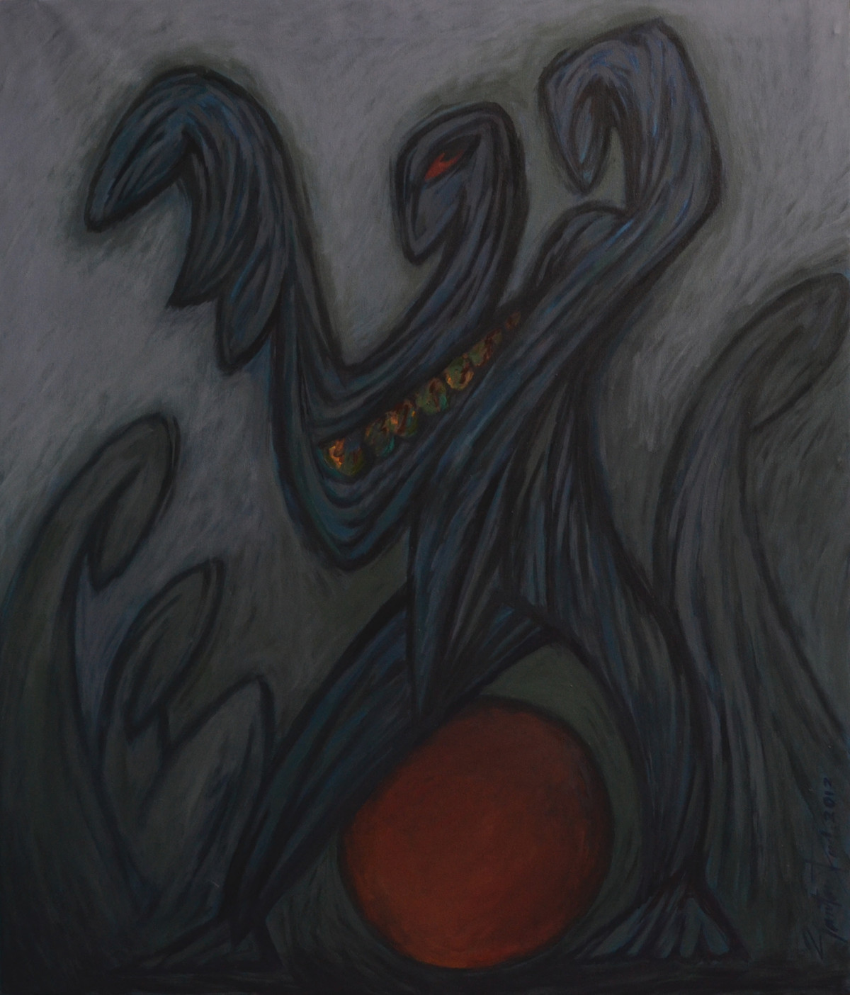 Performer - 3 by Gautam Paul, Abstract, Impressionism Painting, Acrylic on Canvas, Gray color