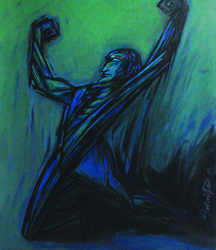 Winner - 2 by Gautam Paul, Expressionism Painting, Acrylic on Canvas, Green color